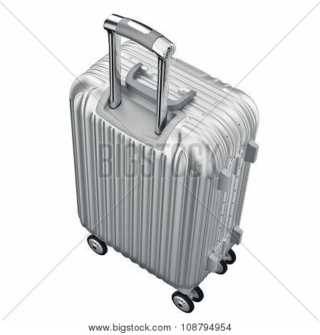 Silver metal luggage for travel