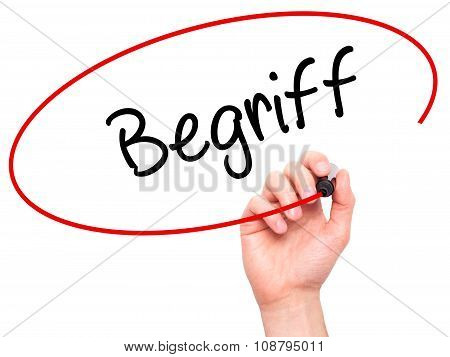 Man Hand writing Begriff (Terms in German) with black marker on visual screen.