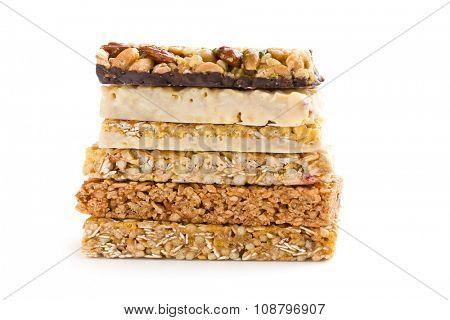muesli bars on white background