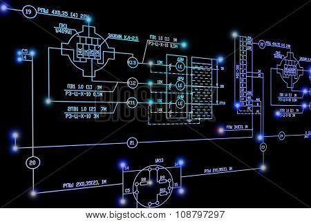 Engineering industrial electrical scheme