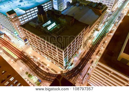 Aerial View Of Chicago Elevated Trains