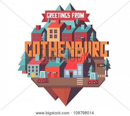 Gothenburg in Sweden is Beautiful city to visit on holiday, vector cartoon illustration
