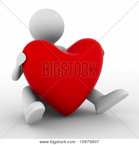 Men With Red Heart On White. Isolated 3D Image