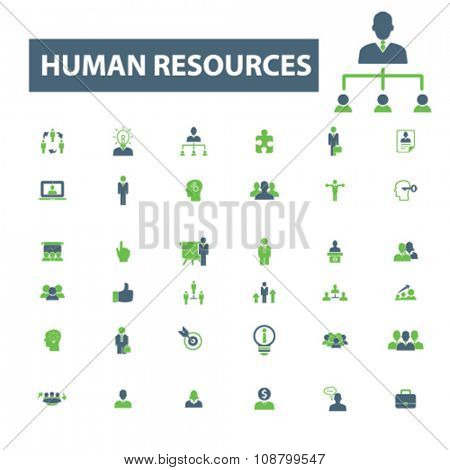 human resources, management icons, signs vector concept set for infographics, mobile, website, application