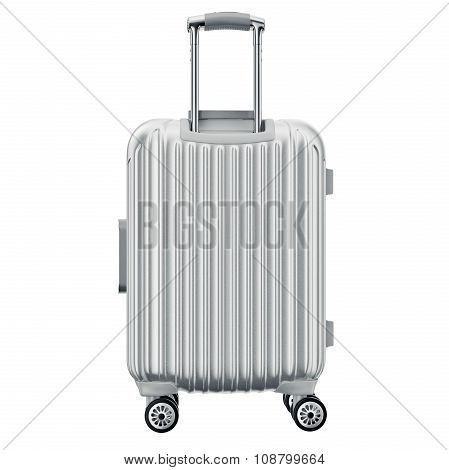 Luggage on wheels silver, back view