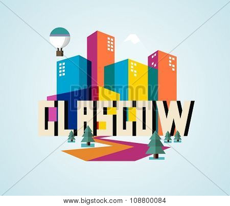 Glasgow in UK is Beautiful city to visit on holiday, vector cartoon illustration