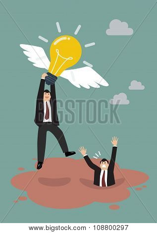 Businessman Hold Flying Lightbulb Get Away From Quicksand