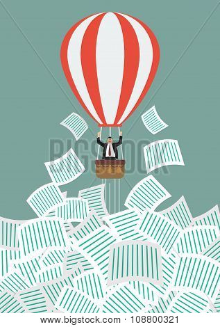 Businessman On Hot Air Balloon Get Away From A Lot Of Documents