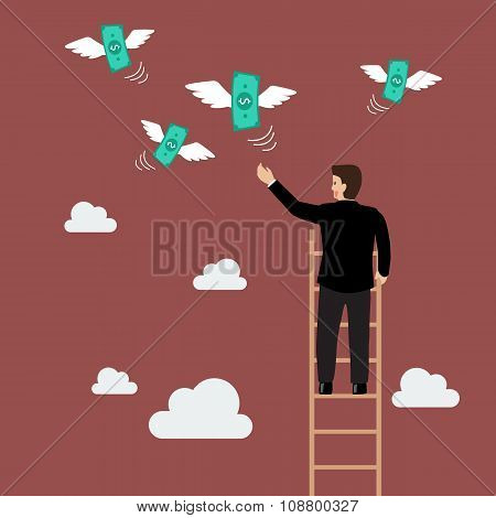 Businessman On The Ladder Catching A Money Fly