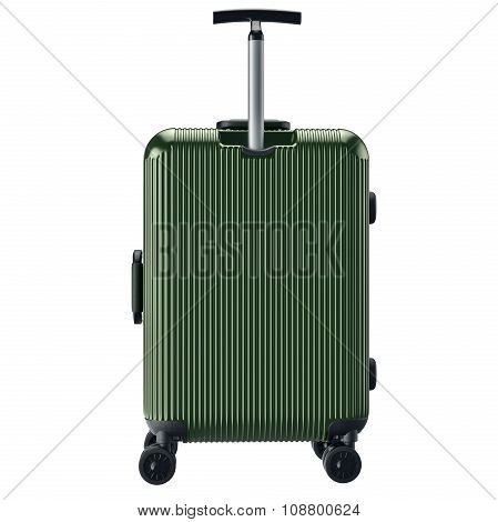 Luggage on wheels green, back view