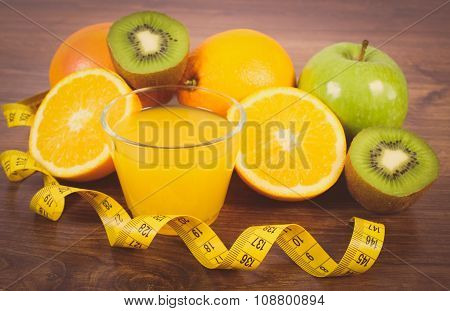 Vintage Photo, Fresh Fruits, Juice And Tape Measure, Healthy Lifestyles And Nutrition