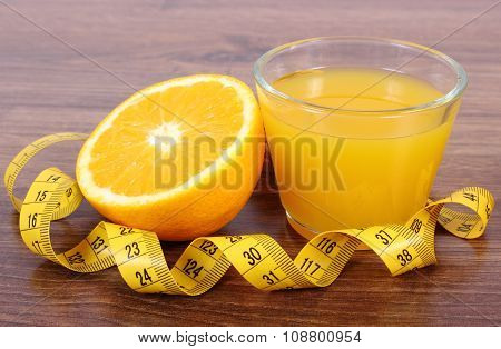 Fresh Orange, Juice And Tape Measure, Healthy Lifestyles And Nutrition