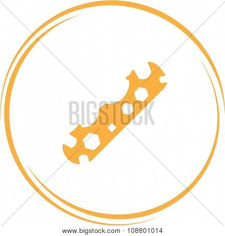 cycle spanner. Internet button. Vector icon.