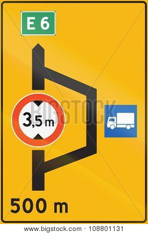 Norwegian Road Sign - Detour For Trucks