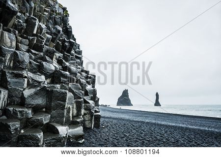 Mount Reynisfjall With Basalt Columns And Reynisdrangar Rock Formations