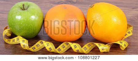 Fresh Ripe Fruits And Tape Measure, Healthy Lifestyles And Nutrition