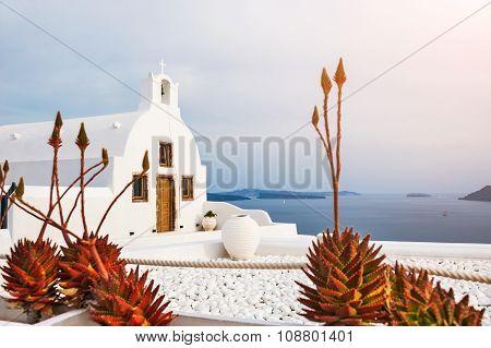Church In Oia Town, White Architecture On Santorini Island, Greece