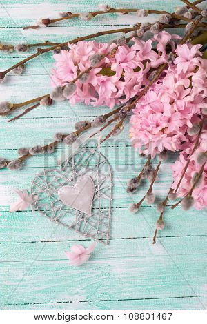 Grey Decoratve Heart With Hyacinths, Willow Flowers