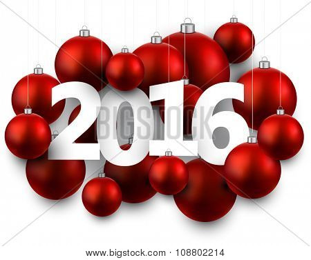 2016 New Year card with red balls. Vector illustration.