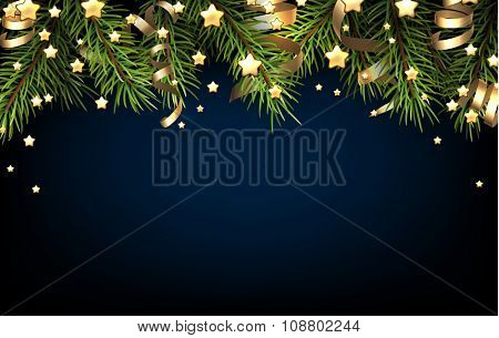 Christmas blue background with fir branch. Vector illustration.