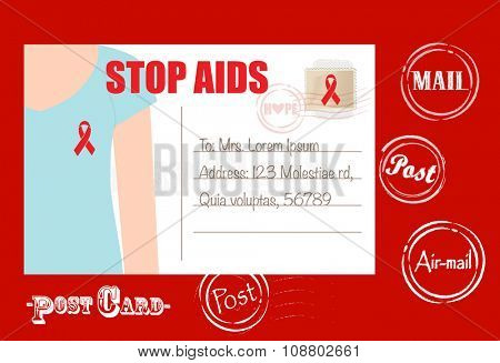 Aids Awareness cards design, women wearing ribbons for World Aids Day. Vector Illustration.