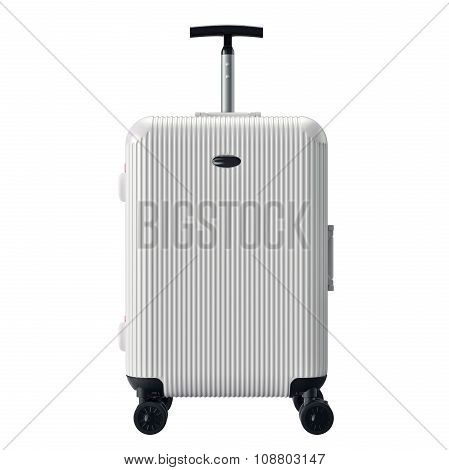 White luggage for travel, front view