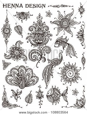 Vector Set Of Henna Floral And Animal Elements Based On Traditional Asian Ornaments