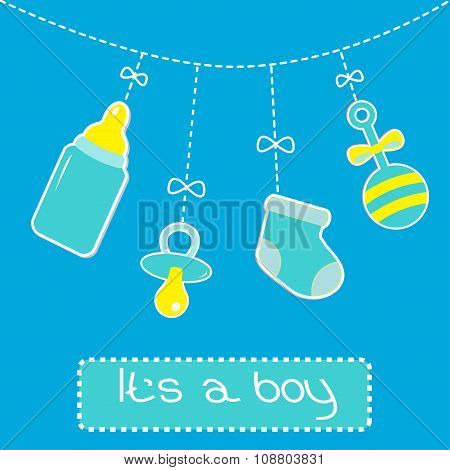Hanging  Bottle, Pacifier, Rattle And Sock. Baby Boy Shower Card