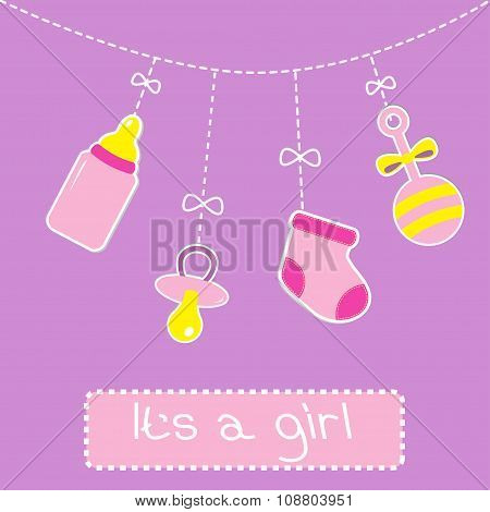 Hanging  Bottle, Pacifier, Rattle And Sock. Baby Girl Shower Car