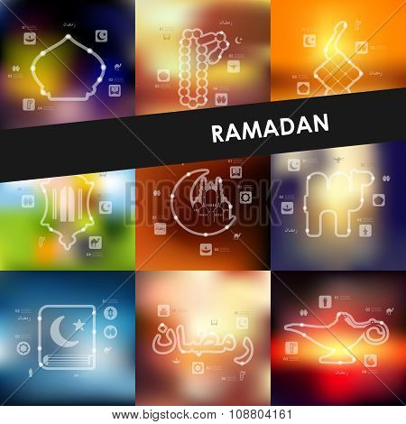 ramadan timeline infographics with blurred background