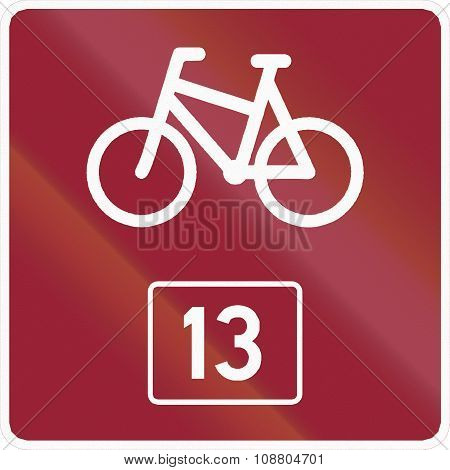 Norwegian Road Sign - Numbered Cycle Route
