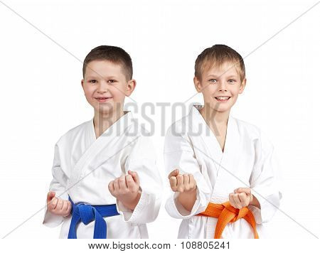In karategi two athletes doing karate technique