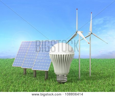 Concept Of Green Energy. Wind Tower, Led Light Bulb And Solar Energy Panel In A Grass.