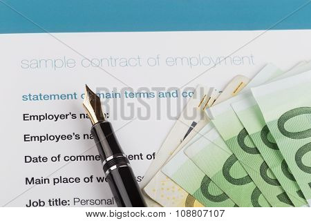 Employment Contract With Fountain Pen