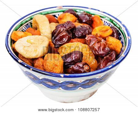 Dried Fruits In Typical Ceramic Bowl Isolated