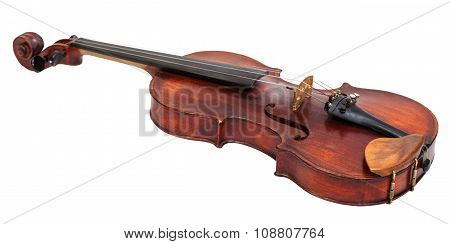 Full Size Violin With Wooden Chinrest Isolated