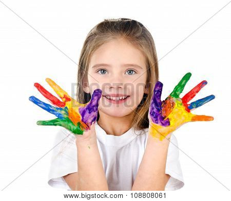 Happy Cute Little Girl With Colorful Painted Hands