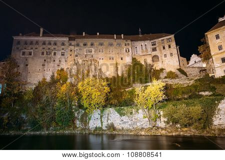 Night view to castle in Cesky Krumlov, Czech republic.