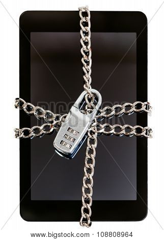Tablet Pc Chained By Chain With Combination Lock