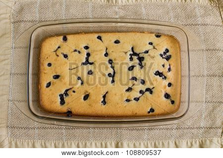 Cake with blueberry in glass brazier
