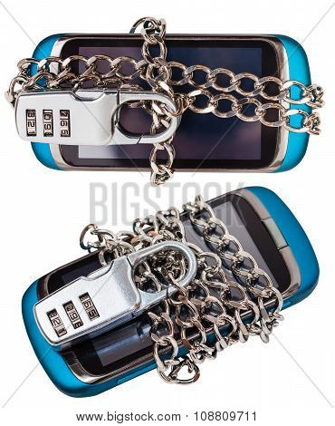 Set Of Smartphones Closed By Combination Lock