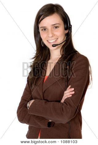 Business Girl With Headset