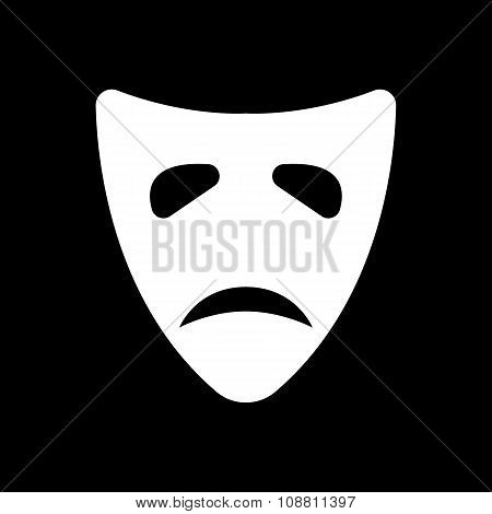 The sad mask icon. Tragedy and theater symbol. Flat