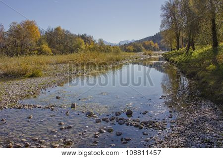 Beautiful Isar River In Autumn