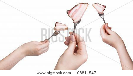 Set Of Forks With Impaled Piece Of Bacon In Hands