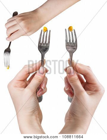 Set Of Dinning Forks With Impaled Yellow Corn Seed