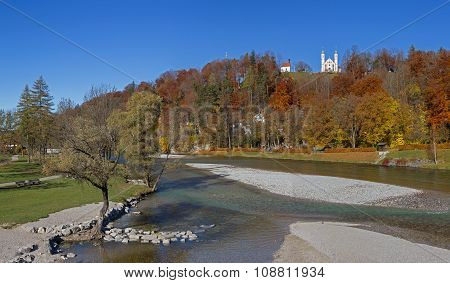 Autumnal Hill With Pilgrimage Chapel, Idyll At Isar River Bad Tolz