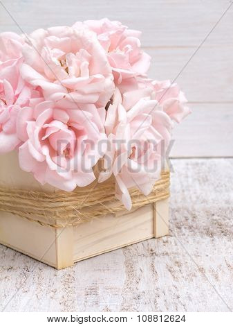 Pale Pink Roses Bouquet In The Wooden Box