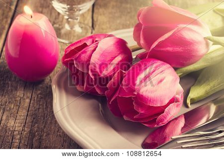 Spring Table Setting With Tree Pink Tulip And Candle Egg For Easter