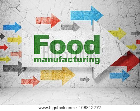 Industry concept: arrow with Food Manufacturing on grunge wall background